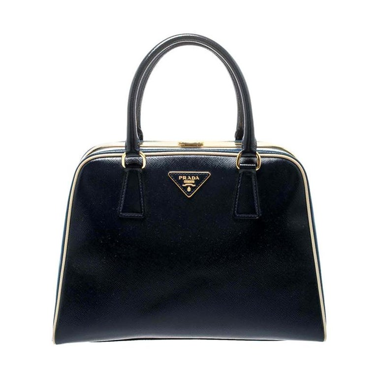 Prada Navy Blue Patent Leather Pyramid Frame Top Handle Bag For Sale
