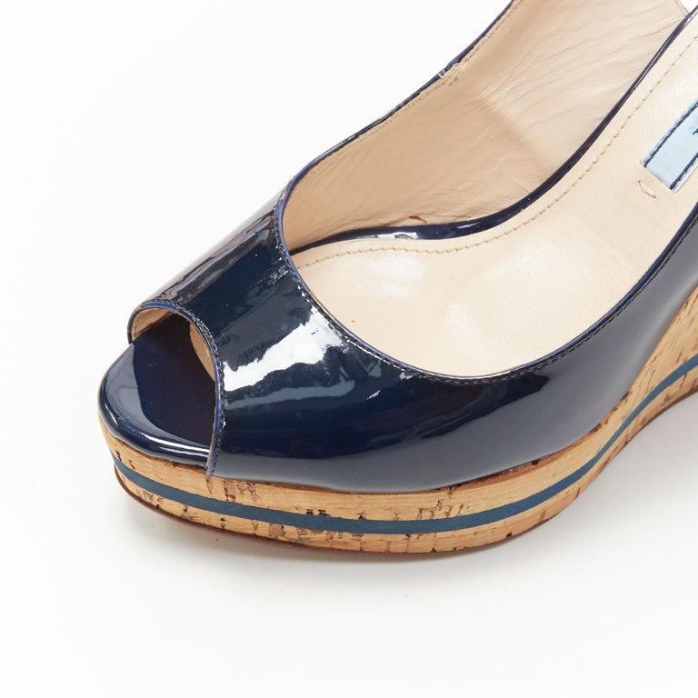 PRADA navy blue patent peep toe striped cork platform slingback wedge EU35.5 For Sale 5