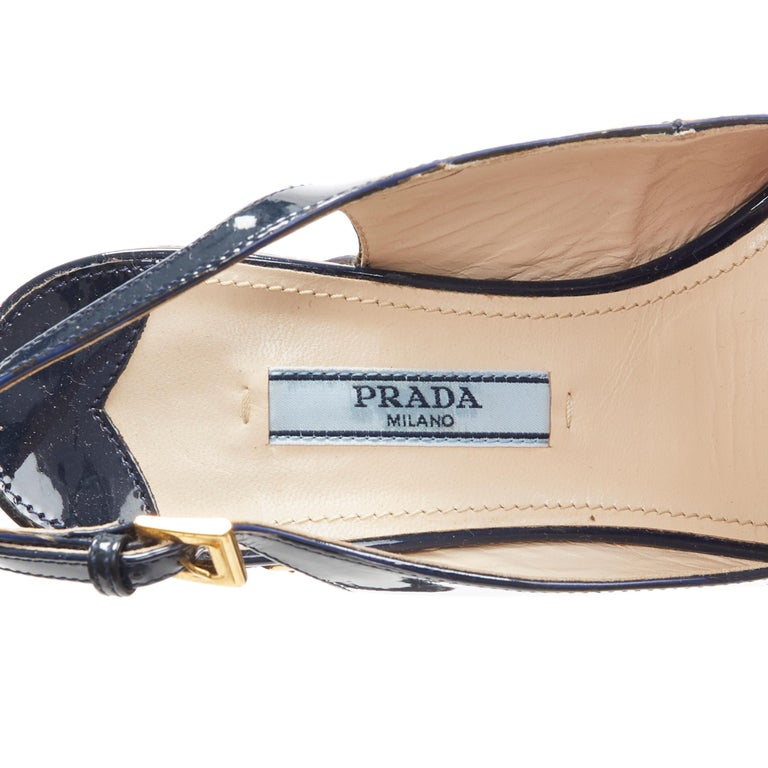 PRADA navy blue patent peep toe striped cork platform slingback wedge EU35.5 For Sale 6