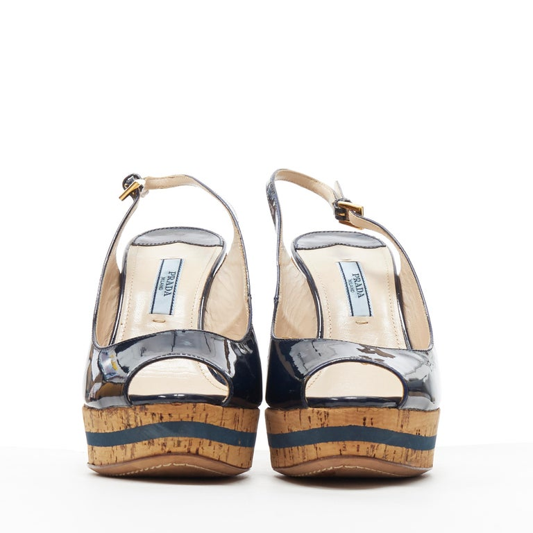 Brown PRADA navy blue patent peep toe striped cork platform slingback wedge EU35.5 For Sale