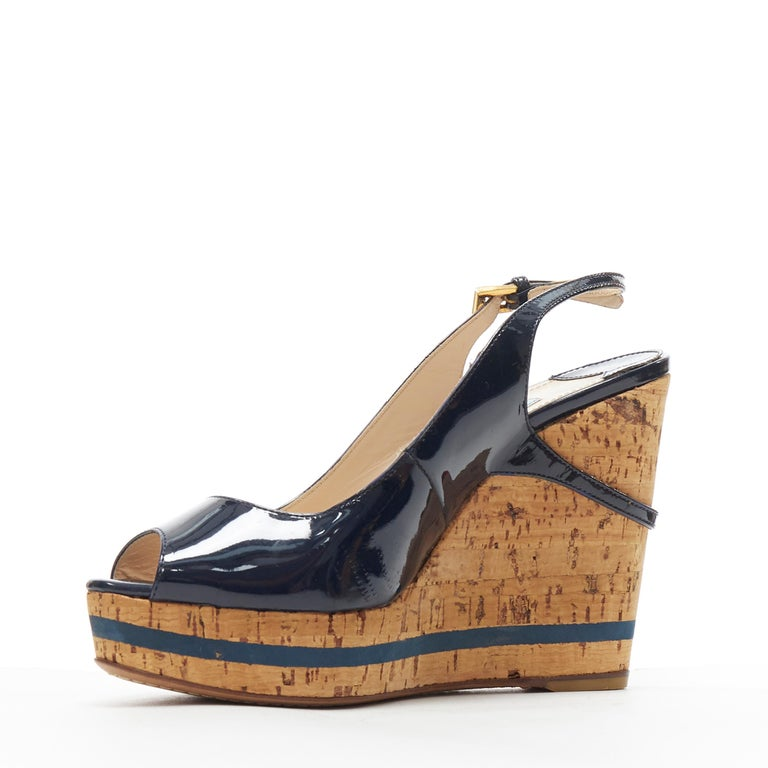 PRADA navy blue patent peep toe striped cork platform slingback wedge EU35.5 In Excellent Condition For Sale In Hong Kong, NT