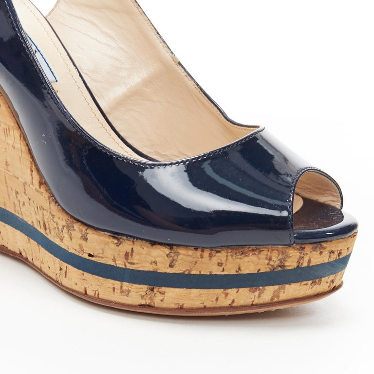 PRADA navy blue patent peep toe striped cork platform slingback wedge EU35.5 For Sale 3