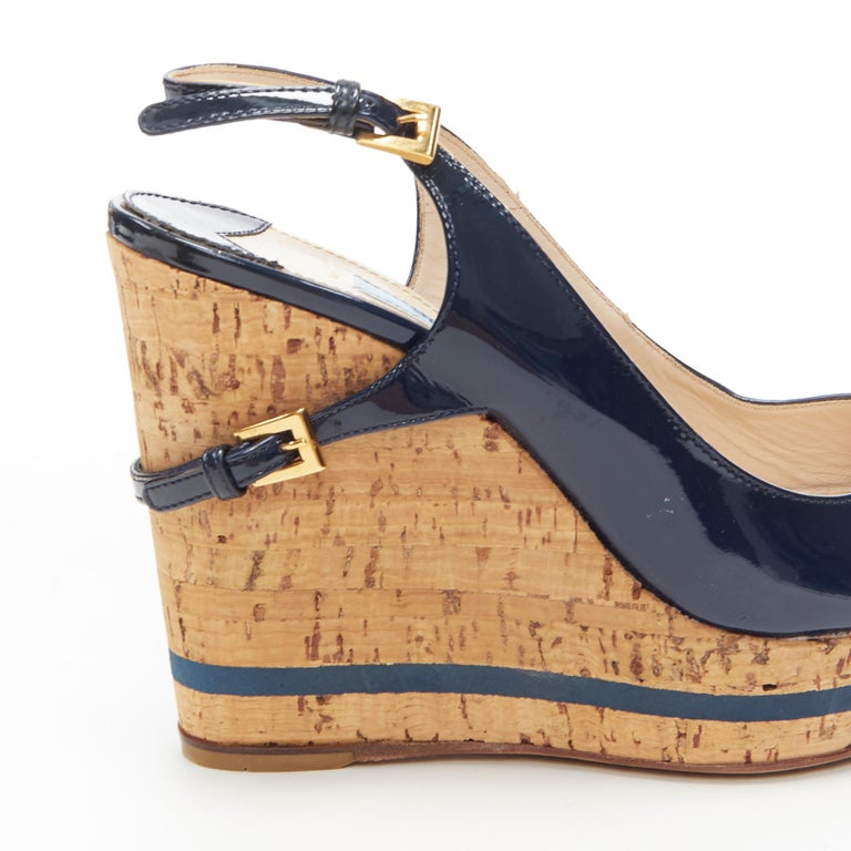 PRADA navy blue patent peep toe striped cork platform slingback wedge EU35.5 For Sale 4