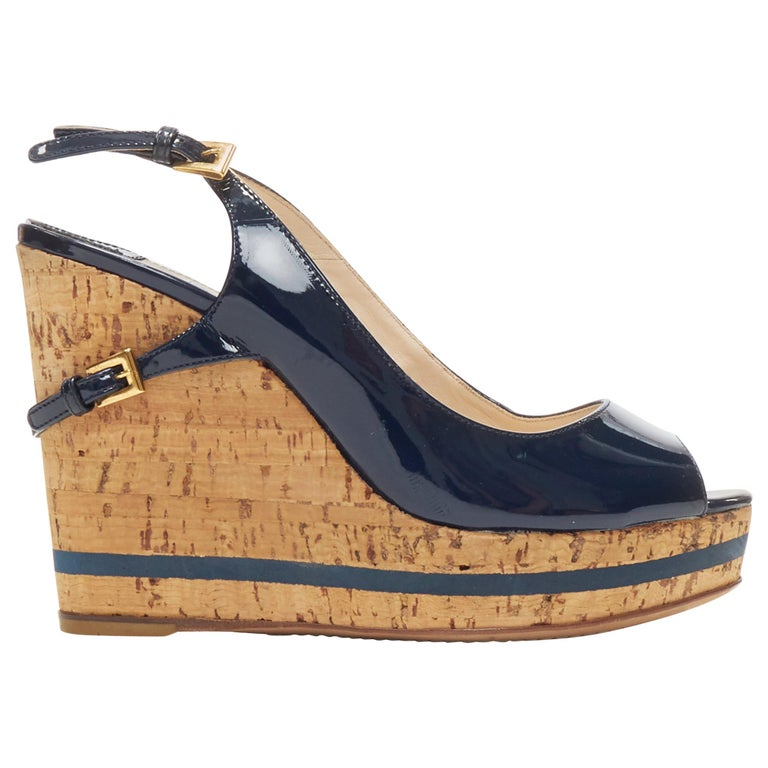 PRADA navy blue patent peep toe striped cork platform slingback wedge EU35.5 For Sale