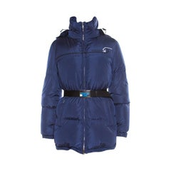 Prada Navy Blue Quilted Hooded Puffer Down Jacket S