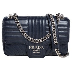 Prada Navy Blue Quilted Leather Impunture Flap Shoulder Bag