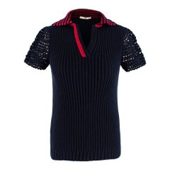 Prada Navy Blue Rib Knit Polo Shirt  - Size US 0