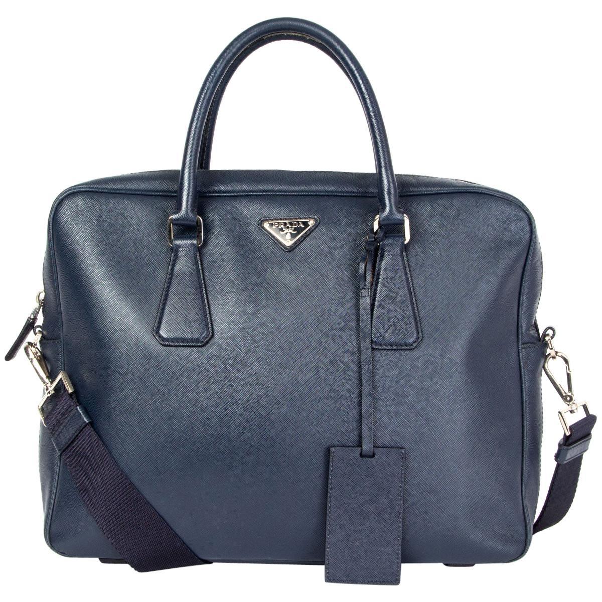 PRADA navy blue Saffiano leather Briefcase Bag