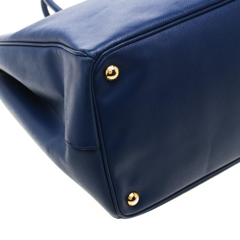 Prada Navy Blue Saffiano Leather Executive Double Zip Tote 5
