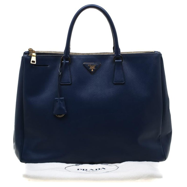 Prada Navy Blue Saffiano Leather Executive Double Zip Tote 6