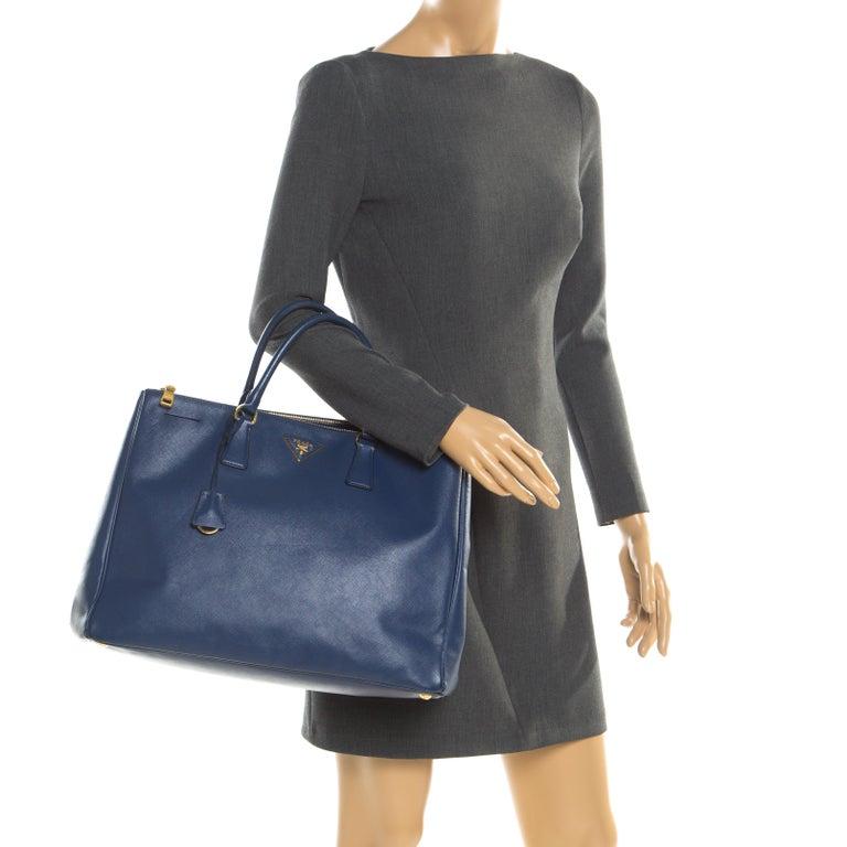 Black Prada Navy Blue Saffiano Leather Executive Double Zip Tote