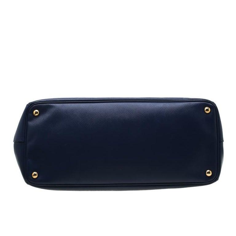 Women's Prada Navy Blue Saffiano Leather Executive Double Zip Tote