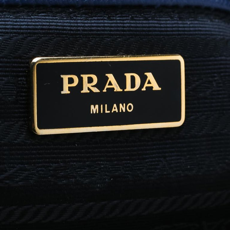 Prada Navy Blue Saffiano Leather Executive Double Zip Tote 1