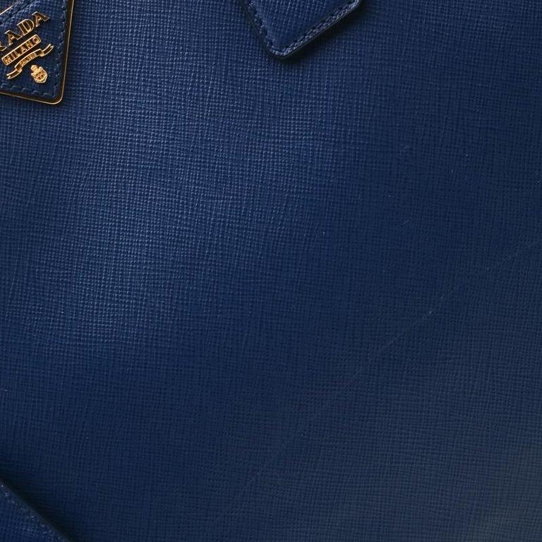 Prada Navy Blue Saffiano Leather Executive Double Zip Tote 3