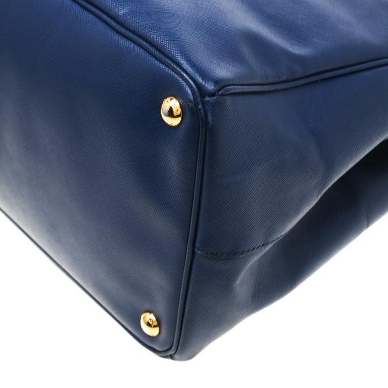 Prada Navy Blue Saffiano Leather Executive Double Zip Tote 4