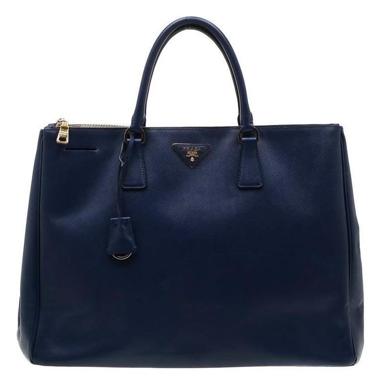 Prada Navy Blue Saffiano Leather Executive Double Zip Tote