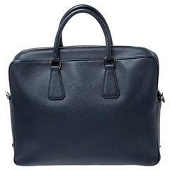 Prada Navy Blue Saffiano Leather Two Way Travel Briefcase