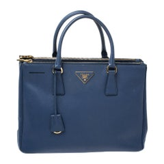 Prada Navy Blue Saffiano Lux Leather Medium Double Zip Tote