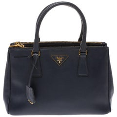 Prada Navy Blue Saffiano Lux Leather Small Double Zip Tote