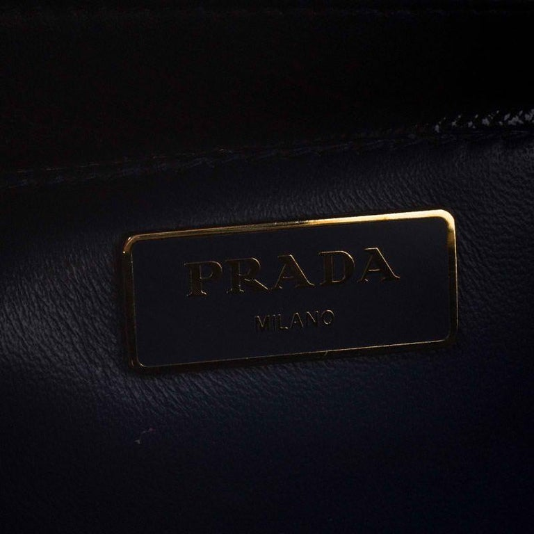 Prada Navy Blue Saffiano Lux Patent Leather Frame Top Handle Bag 6