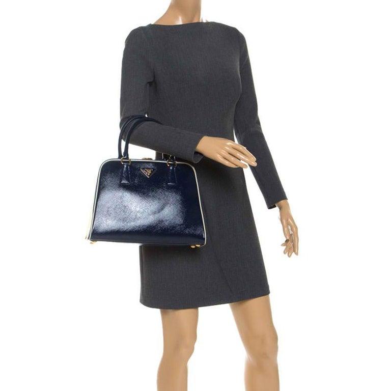 Prada Navy Blue Saffiano Lux Patent Leather Frame Top Handle Bag In Excellent Condition In Dubai, Al Qouz 2