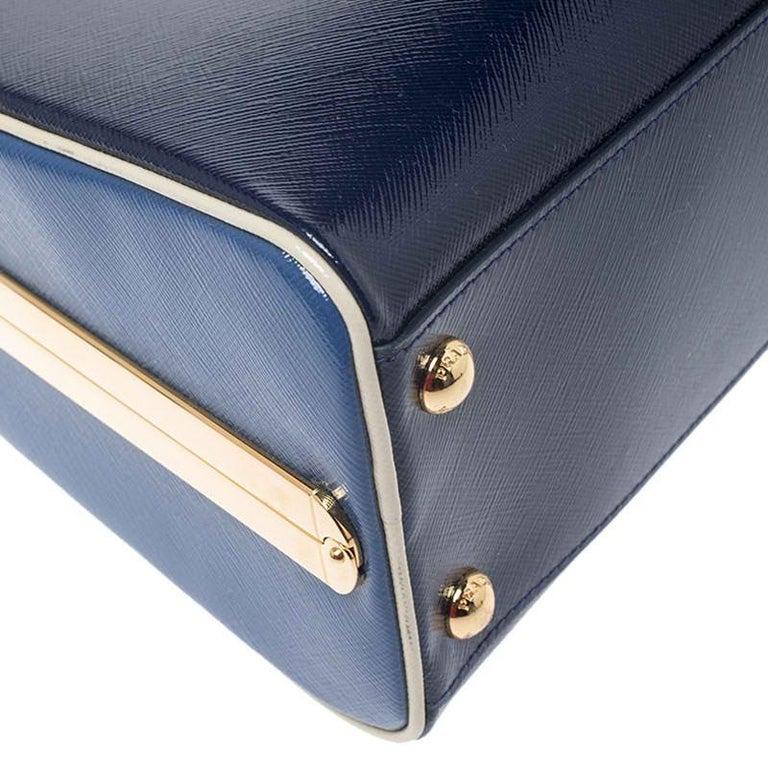 Women's Prada Navy Blue Saffiano Lux Patent Leather Frame Top Handle Bag