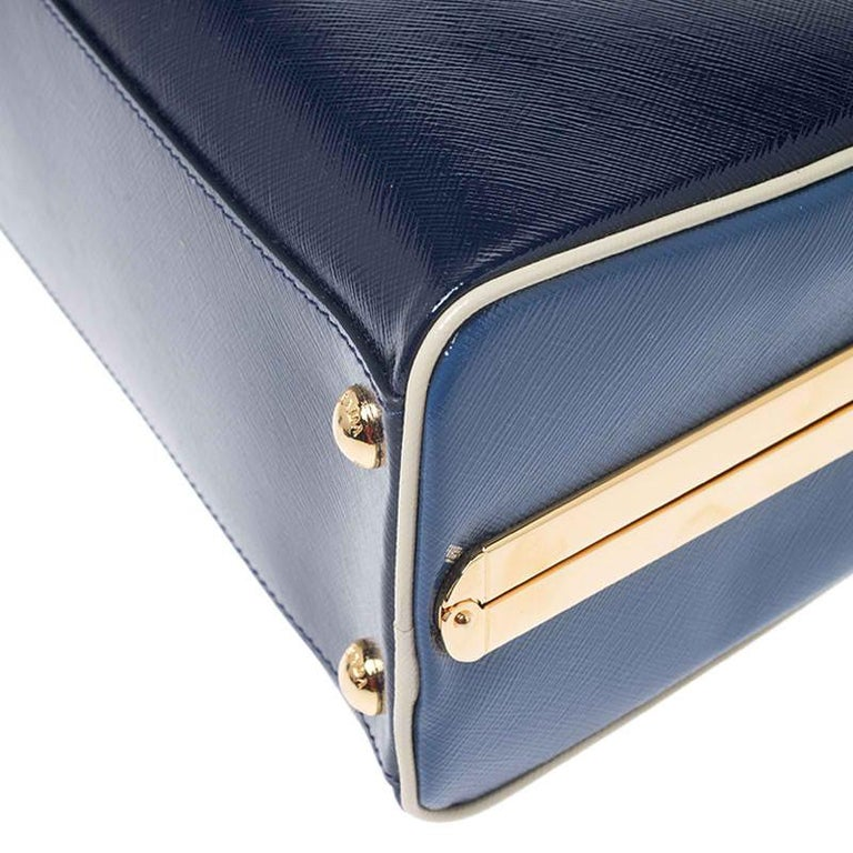 Prada Navy Blue Saffiano Lux Patent Leather Frame Top Handle Bag 1