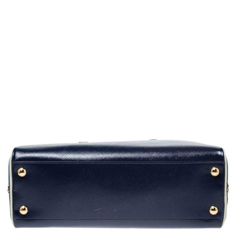 Prada Navy Blue Saffiano Lux Patent Leather Frame Top Handle Bag 2