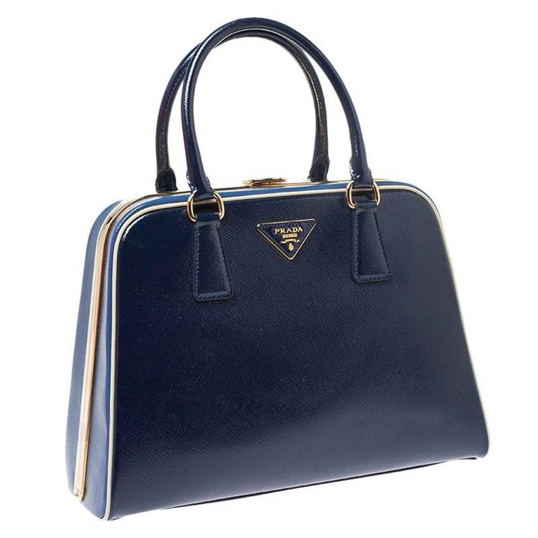 Prada Navy Blue Saffiano Lux Patent Leather Frame Top Handle Bag 3