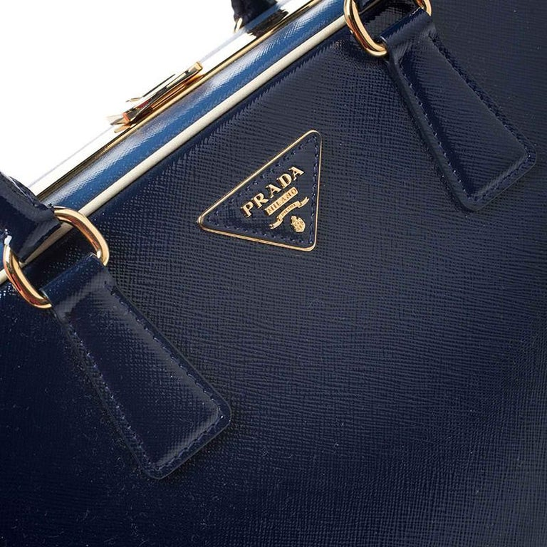 Prada Navy Blue Saffiano Lux Patent Leather Frame Top Handle Bag 4