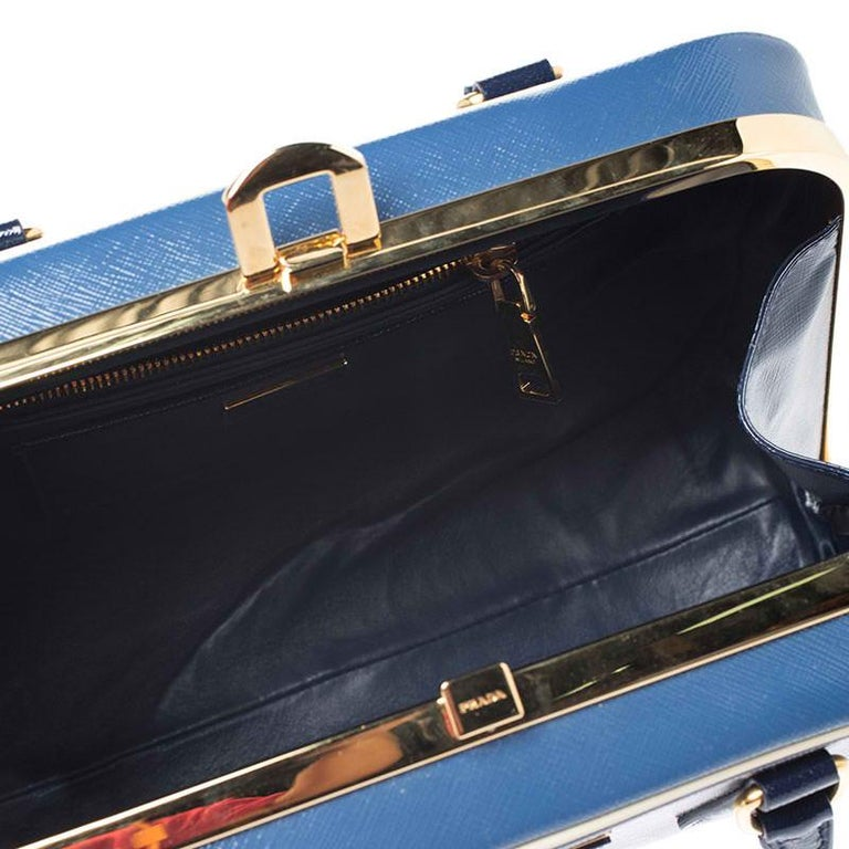 Prada Navy Blue Saffiano Lux Patent Leather Frame Top Handle Bag 5