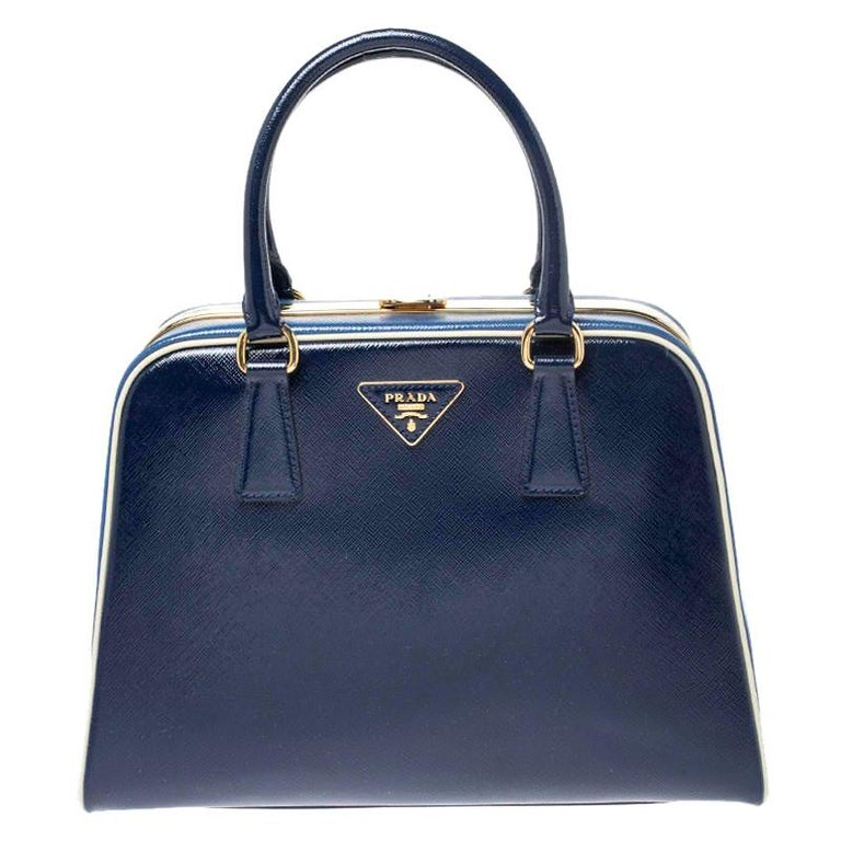 Prada Navy Blue Saffiano Lux Patent Leather Frame Top Handle Bag
