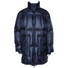 Prada Navy Blue Synthetic Hooded Puffer Parka Jacket L