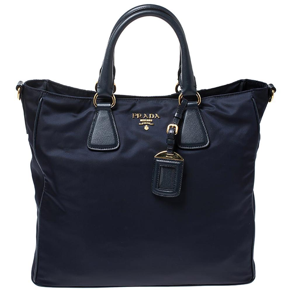 Prada Navy Blue Tessuto and Saffiano Leather Tote