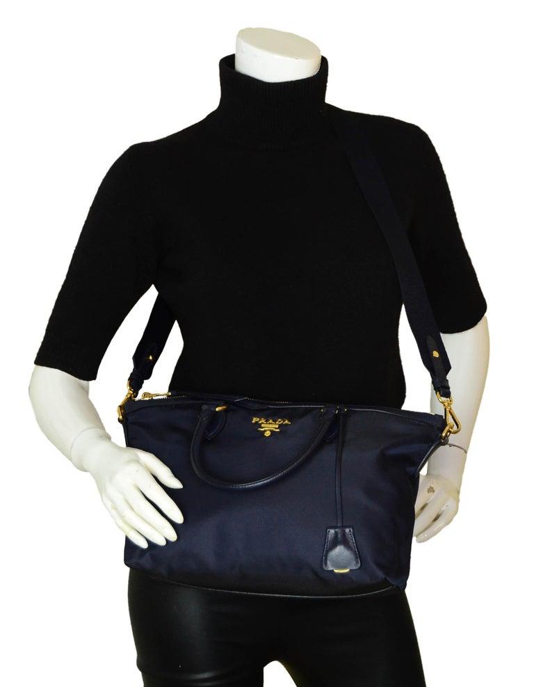 Black Prada Navy Blue Tessuto Nylon 2 Way Tote Bag w/ Strap 1BA104 For Sale