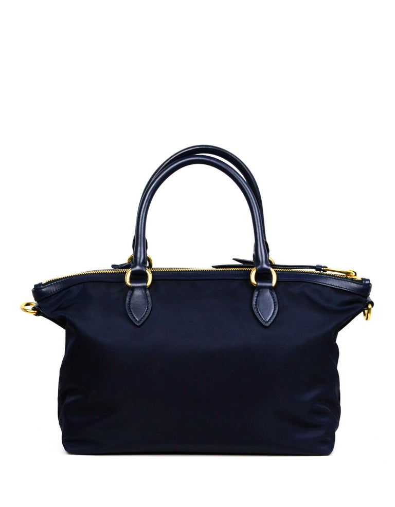 Prada Navy Blue Tessuto Nylon 2 Way Tote Bag w/ Strap 1BA104 In Excellent Condition For Sale In New York, NY