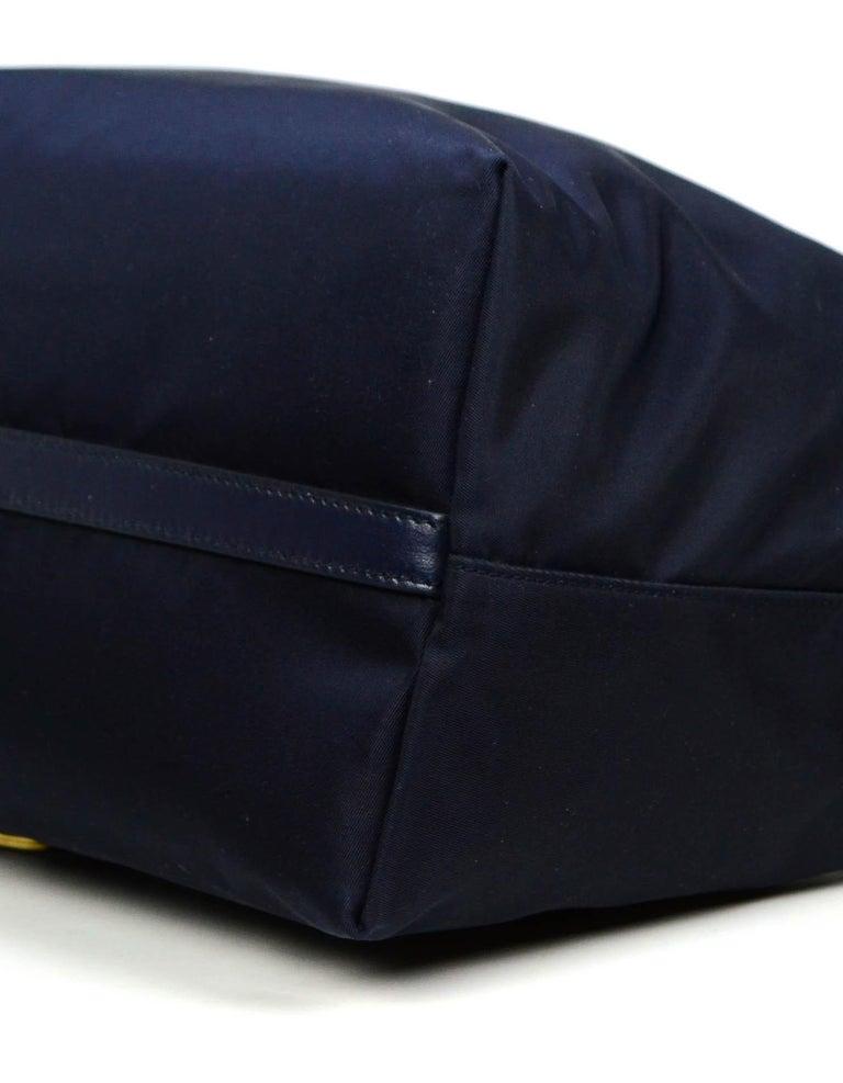 Women's Prada Navy Blue Tessuto Nylon 2 Way Tote Bag w/ Strap 1BA104 For Sale