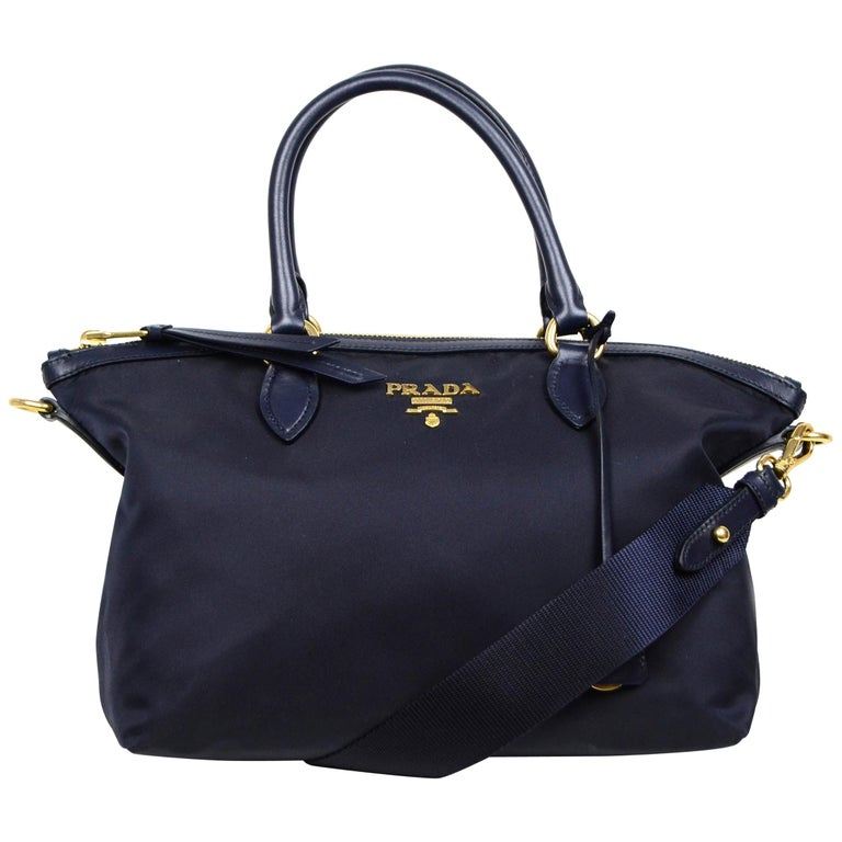 Prada Navy Blue Tessuto Nylon 2 Way Tote Bag w/ Strap 1BA104 For Sale