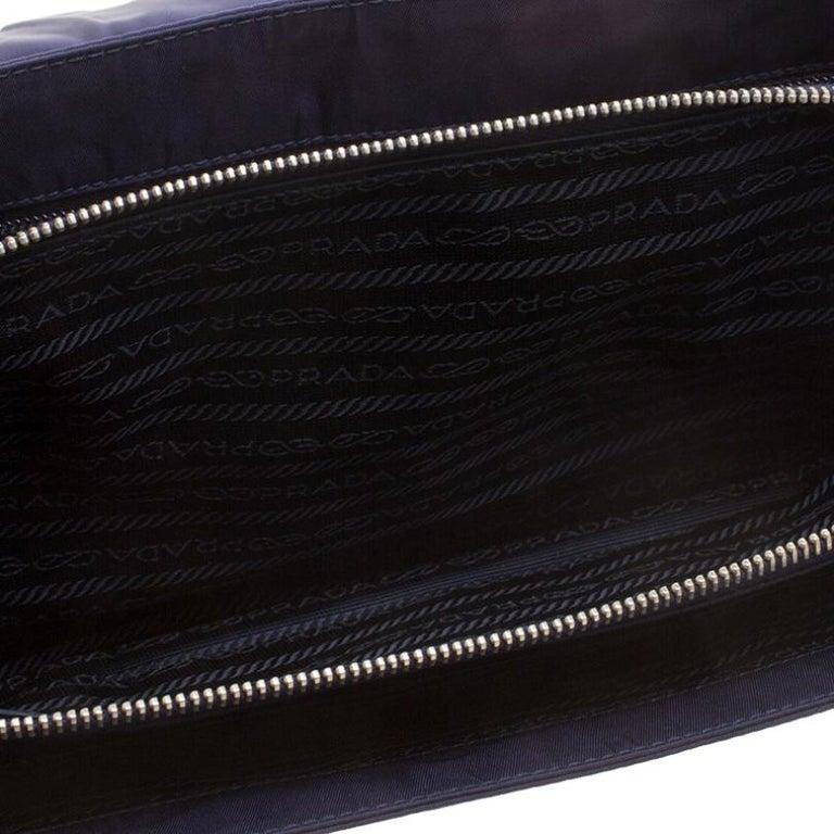 Prada Navy Blue Tessuto Nylon Flap Shoulder Bag For Sale 6