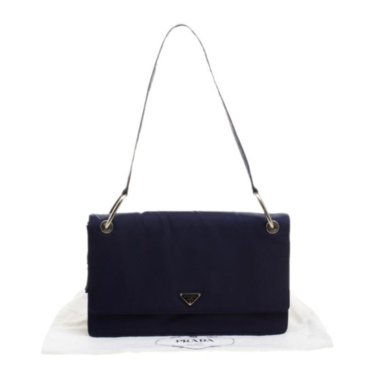 Prada Navy Blue Tessuto Nylon Flap Shoulder Bag For Sale 7