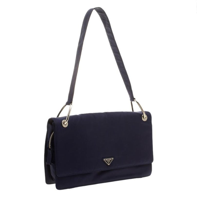Women's Prada Navy Blue Tessuto Nylon Flap Shoulder Bag For Sale
