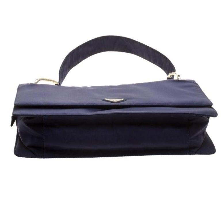 Prada Navy Blue Tessuto Nylon Flap Shoulder Bag For Sale 1