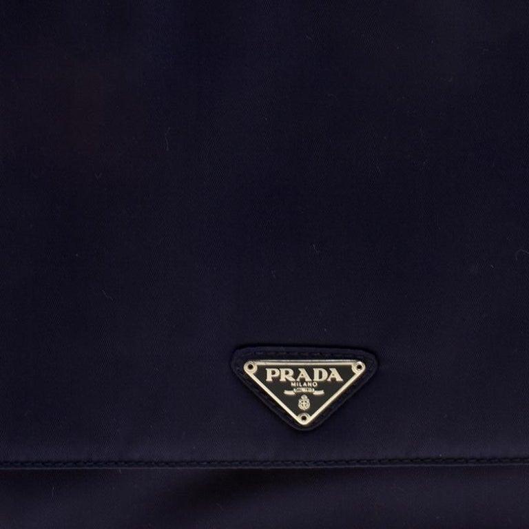 Prada Navy Blue Tessuto Nylon Flap Shoulder Bag For Sale 2
