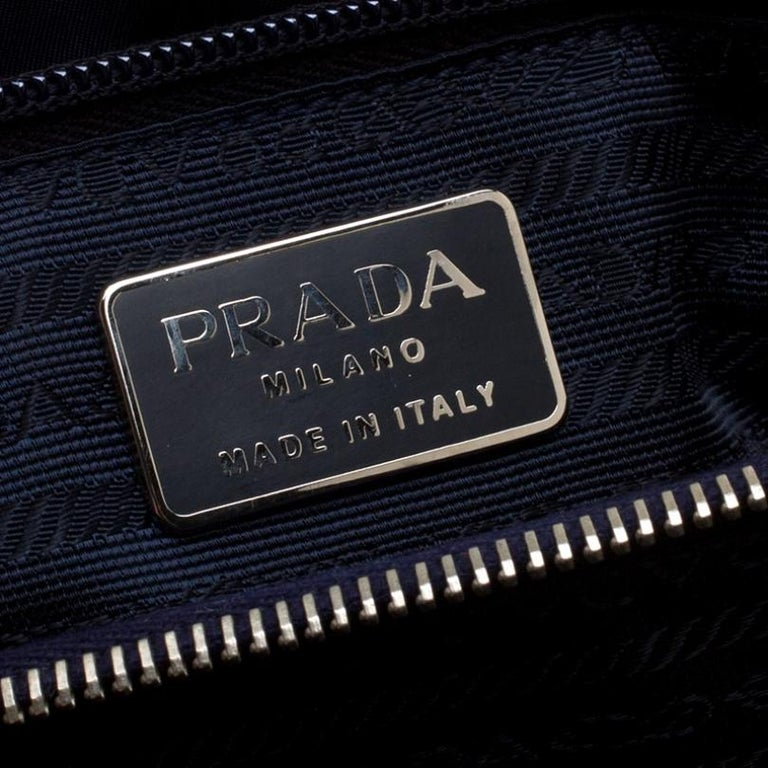 Prada Navy Blue Tessuto Nylon Flap Shoulder Bag For Sale 3