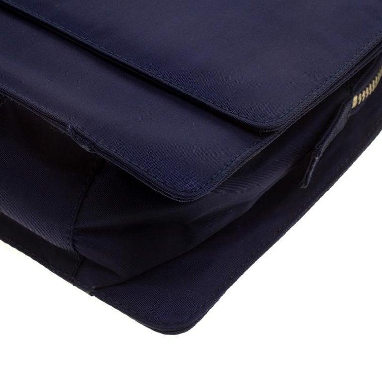 Prada Navy Blue Tessuto Nylon Flap Shoulder Bag For Sale 4
