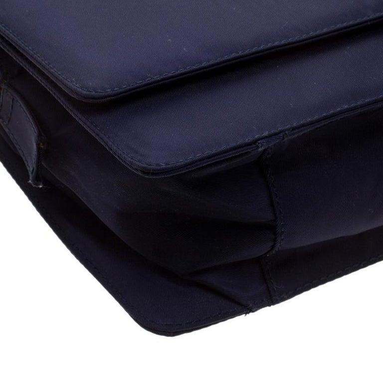 Prada Navy Blue Tessuto Nylon Flap Shoulder Bag For Sale 5