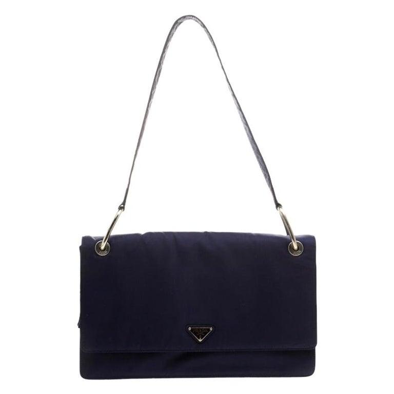 Prada Navy Blue Tessuto Nylon Flap Shoulder Bag For Sale
