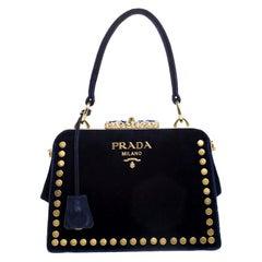Prada Navy Blue Velvet Studded Top Handle Bag