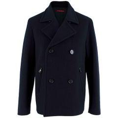 Prada Navy Blue Wool Peacoat L