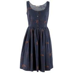 Prada Navy Floral Print Dress IT 42